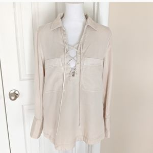 Free People S/M Loose LaceUp Neckline Blouse Cream